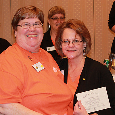 Winter State 2016: Award Recipient Jane H with President Terri