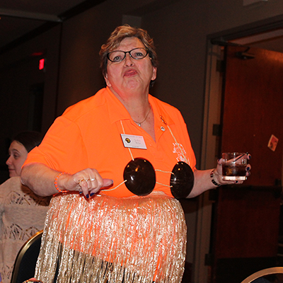 Winter State 2016: Secretary Joann having fun at the Friday Night Party