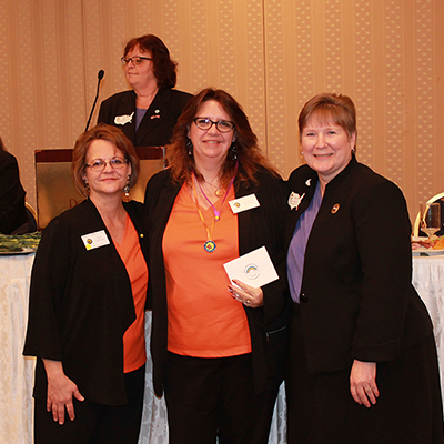 Winter State 2016: USWT Pin recipient Michelle, with MNWT President Terri and USWT President Joyce